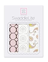 SwaddleDesigns SwaddleLite 3 Piece Swaddle Blankets, Modern Lite, Pink