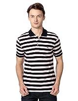 Peter England Navy Regular Fit Striped T Shirt