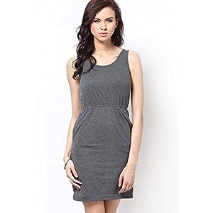 Grey Basic Dress With Dual Pockets