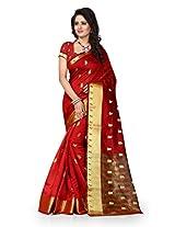 Shree Sanskruti Self Design Tassar Silk Red Color Saree For Women With Blouse Piece