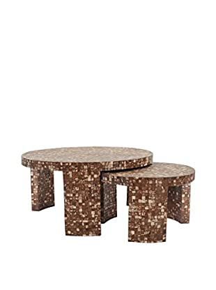 Jeffan Cocomosaic Round Nesting Coffee Table , Dark Natural