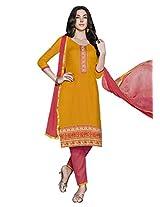 Lavis Women's Yellow Cotton Dress Material