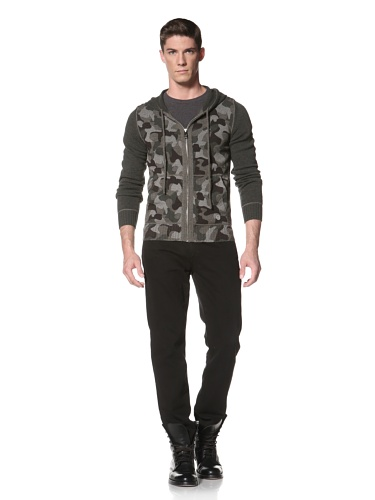 LOVE Moschino Men's Knit Sweater with Hood (Camouflage Brown)