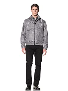 Perry Ellis Men's Plaid Windbreaker (Black)