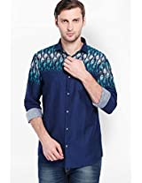 Printed Navy Blue Casual Shirt Locomotive