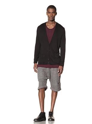B: Scott Men's Button-Up V-Neck Cardigan (Black)