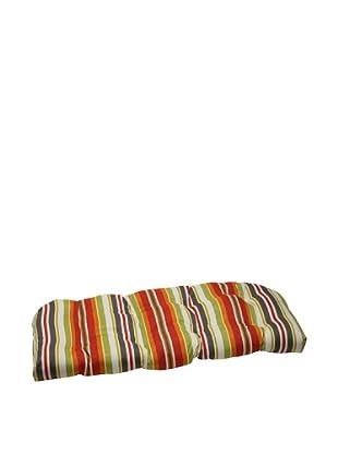 Pillow Perfect Outdoor Roxen Stripe Wicker Loveseat Cushion, Citrus