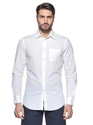 Nautica Camisa Solid Manga Larga (Blanco)