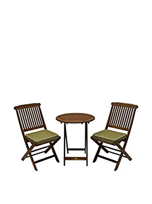 Outdoor Interiors Eucalyptus 3-Piece Bistro Set, Brown/Sage