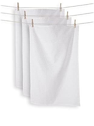 KAF Home Set of 3 Istanbul Waffle Towels, White