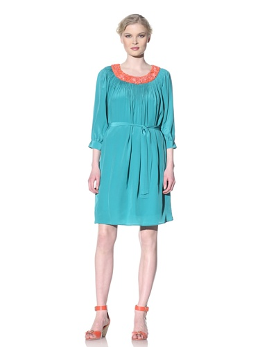 Moschino Cheap and Chic Women's Silk Dress with Beaded Neckline (Turquoise)