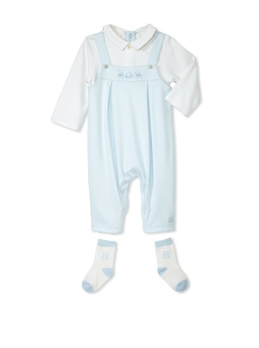 Emile et Rose Baby Boy's Interlock Knit One-Piece with Bear Embroidery (Pale Blue)