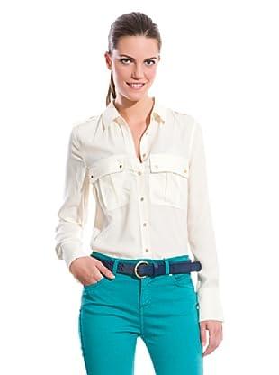 Cortefiel Camisa Bolsillos Plastrón (Crudo)