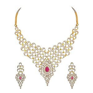 Voylla Necklace Set With Peacock Inspired Motifs Adorned With CZ And Pink Colored Stone