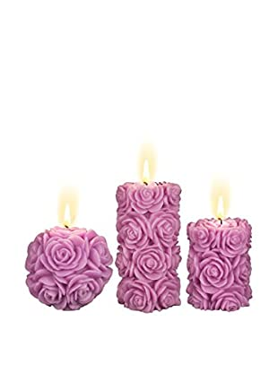 Volcanica Set of 3 Amethyst Purple Candles