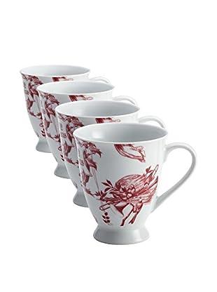 BonJour Set of 4 Yuletide Garland 12-Oz. Mugs