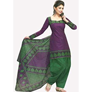 Purple & Green Printed Cotton Unstiched Salwar Kameez / Churidar