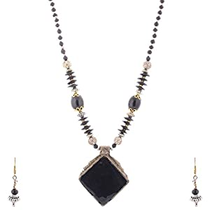 The Crazy Neck Black Metallic Neck Piece jewellery Set