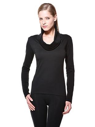 Cotonella Camiseta ML Cuello Drapeado (negro)