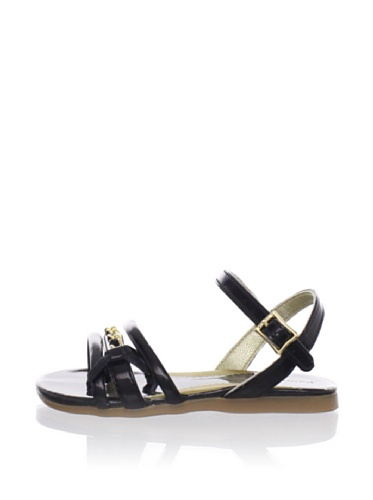 Pampili Kid's Triple Strap Sandal with Ribbon Bow (Black)