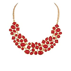 Voylla Statement Necklace With Red Colored Stones