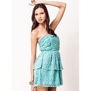 Lace Bow Bandeau Style Sky Blue Colored Dress By KOOVS