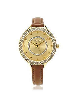 SO&CO Women's 5241.4 Studio Tan/Gold-Tone Leather Watch