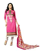 Suchi Fashion Embroidered Light Pink & White Chanderi Dress Material