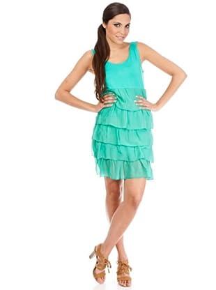 Cortefiel Vestido Volantes (Aguamarina)