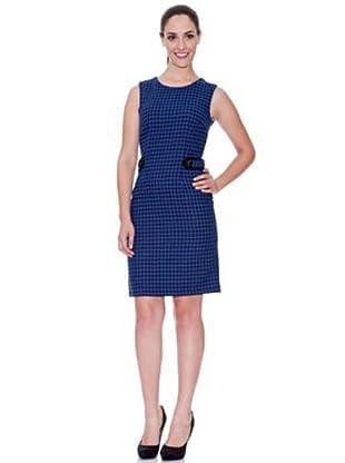 Cortefiel Vestido Pata De Gallo (Azul)