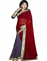 Pagli red with multicolor georgette printed saree.