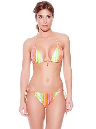 Teleno Bikini Triángulo Con Foam Y Braguita De Atar (Naranja)