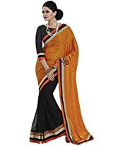 Indian Women Gorgeous Crepe Orange Saree with Blouse