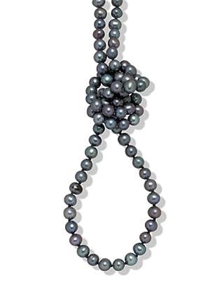 Perldor 60650065 - Collar de mujer plata de ley con perla natural Azul 90 cm