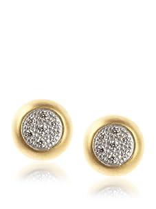 Belargo Women's Small Pave Stud Earrings, Gold/Silver