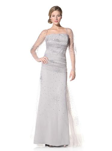 Badgley Mischka Women's Helen Mirren Strapless Gown With Lace Sleeves (Silver)