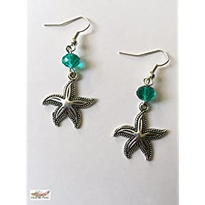 Under the Feather Charm Earrings- Silver Starfish
