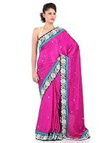 Chhabra555 Purple Faux Chiffon Embroidery Saree
