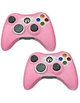 Hde 2 Pack Of Neon Candy Color Protective Silicone Skin Covers For Xbox 360 Game Controllers (Pink)