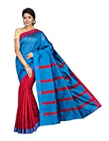 Korni Cotton Silk Banarasi Saree SHDEQ-324- Red/Blue KR0443