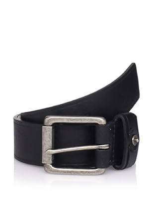Calvin Klein Men's Flat Strap Belt with Heat Crease (Black)