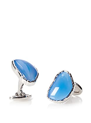 Jan Leslie Abstract Stone Blue Agate Cufflinks