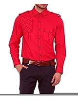 Dazzio Men's Slim Fit Cotton Casual Shirt (DZSH0128_Grey_44)