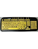 New and Improved EZSee by DC Large Print English QWERTY Keyboard - Vivid Black Letters on Yellow BackGround Keys - Wired USB Connection - For Visually Impaired, Weak Vision in Low Lighted Areas