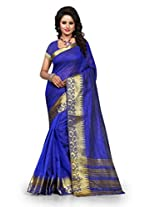 Shree Sanskruti Self Design Tassar Silk Blue Color Saree For Women With Blouse Piece