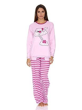 Muslher Pijama Sra Tira Bordada  Pantalón  Liso (Rosa)