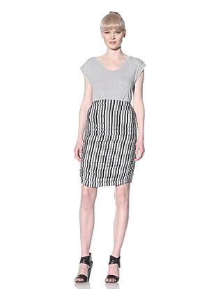 Norma Kamali Women's Shirred Knee-Length Skirt (Striped)