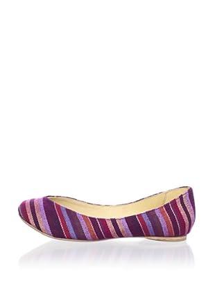 Fiel Women's Suyan Artisianal Ballet Flat (Pink Striped)