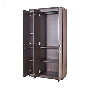 Zuari Wardrobe Three-Door with Honey Brown Finish - Economic