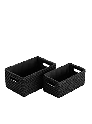 Zings Set 2 Cajas Rectangulares Negro 14 x 18 x 30 cm